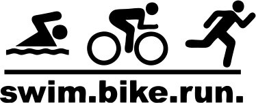 TenStickers. Swim Bike Run Sports Sticker. A design illustrating 'swim, bike, run' with figures carrying out each activity. This sports sticker is perfect for gyms and schools.