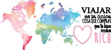 TenVinilo. Vinilo mapamundi y texto sobre viajar. Vinilos para decoración de cualquier tipo de estancias pensados para gente amante de los viajes, con la representación de un fantástico mapamundi.