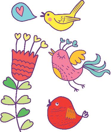 TENSTICKERS. 鳥と花の子供のステッカー. 少数の鳥と花を描いたカラフルなデカールセット。鳥の壁のステッカーのコレクションからの新しいデザイン。