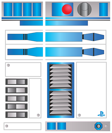 TenStickers. R2-D2 PS4 Skin. R2-D2 PS4 skin based one of the highest grossing film franchises of all time, Star Wars. This colourful design will make your console look like your playing PS4 on your own droid, with matching controller skin.