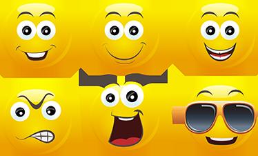 TenStickers. Emoticonos Sticker. Dekorative Aufkleber mit verschiedenen Emoticons. Die Emoji Sticker habe folgende Gesichtsausdrücke: wütend, lächeln, cool, arrogant und so weiter.