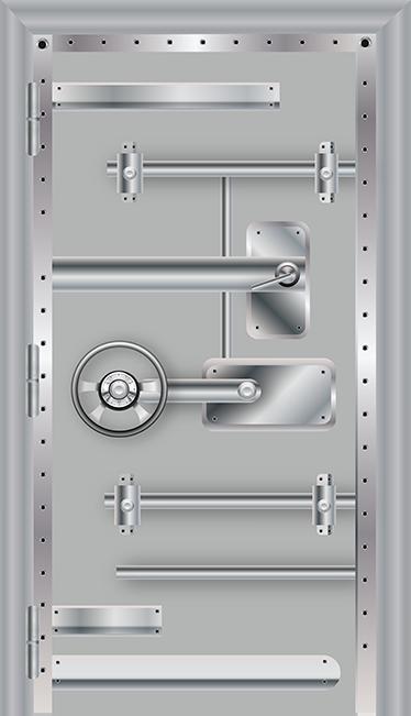 TenStickers. Autocolant ușa bolții metalice. Un autocolant care simulează ușa unui seif sau boltă de pe peretele tău. Ideal pentru decorarea casei tale cu o notă de distracție.
