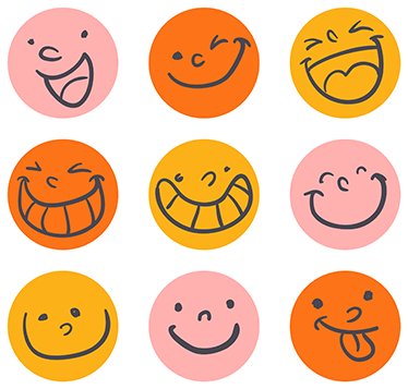 TenStickers. Smiling Faces Stickers. Fun pack of smiley face stickers that can help boost your mood whenever you need it.