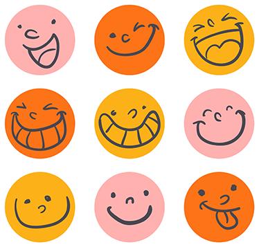 TENSTICKERS. 笑顔のステッカー. 必要なときにいつでも気分を高めることができるスマイルフェイスステッカーの楽しいパック。