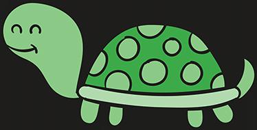 TenStickers. Sticker glad skildpadde. Sjov illustration af en glad, smilende skildpadde som wallsticker med forskellige grønne nuancer, der vil se godt ud i dine børns værelser.
