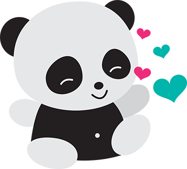 Loving baby panda sticker wall color