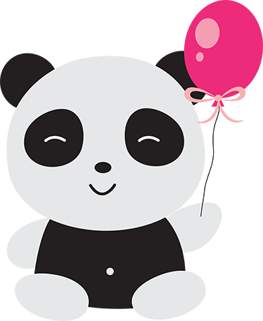 Panda with balloon sticker wall colour