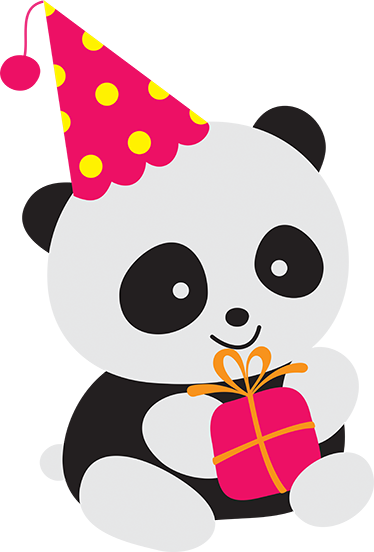 TenStickers. Party Panda Sticker. Children's sticker of a cute ans smiling panda holding a gift and wearing a party hat.