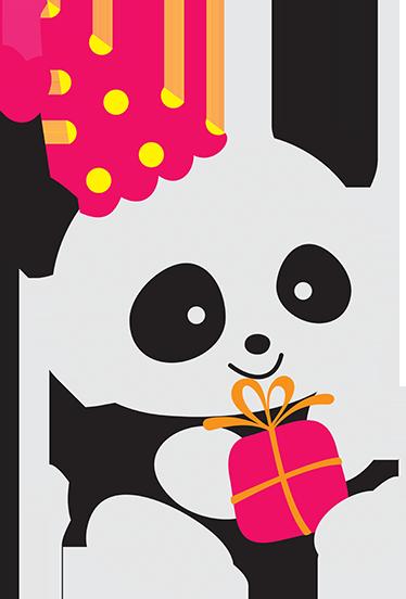 TENSTICKERS. パーティーパンダステッカー. かわいいans笑顔パンダの贈り物を保持しているとパーティーハットを身に着けている子供のステッカー。