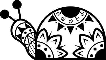 TENSTICKERS. フローラルモノカラーカタツムリステッカー. 部族や花のスタイルを示唆するさまざまな形で作成されたパターン化されたカタツムリステッカー。