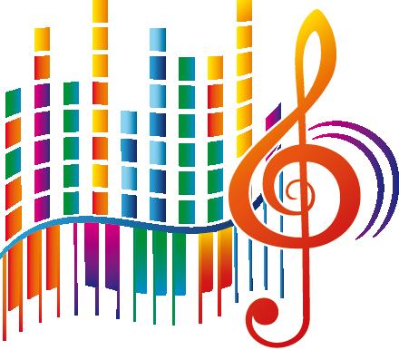 TenStickers. Autocolante moderno pentagrama. Adesivo musical criativo de um pentagrama colorido e moderno. Excelente autocolante de música para decorar seu qualquer quarto!