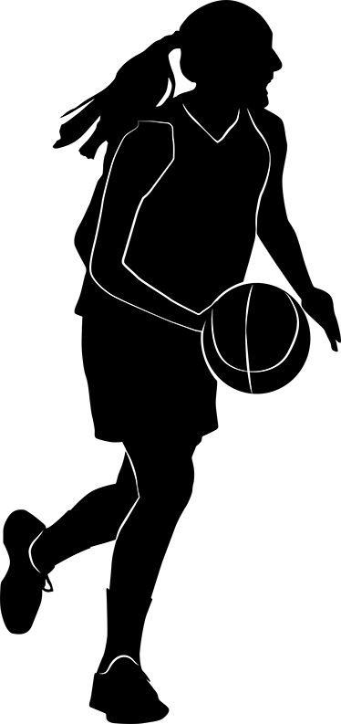 TenStickers. Vinil decorativo silhueta jogadora. Autocolante decorativo com uma silhueta de uma jogadora de basquete que corre pelo campo a driblar a bola para marcar cesto.