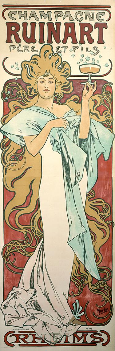 TenStickers. Muursticker champagne ruinart. Prachtige muursticker van een ouderwetste tekening van Champagne Ruinart! Je ziet een mooie dame in een prachtige jurk met een glas champagne.