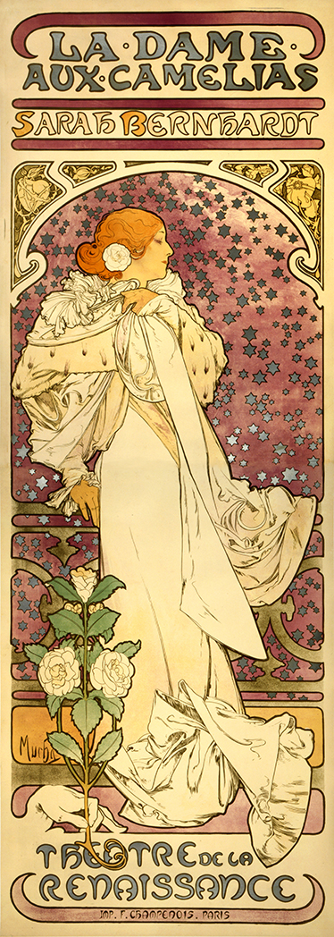 TenStickers. Dame Aux Camellias Poster Sticker. Poster sticker from Czech painter Alfons Mucha, the greatest exponent of Art Nouveau in the late nineteenth century.