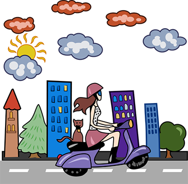 TenStickers. Nalepka mestnega dekleta na skuterju. Podroben zidni nalepka mestnega škarpeta z mlado žensko, ki je švigala po svojem skuterju v spremstvu mačke.