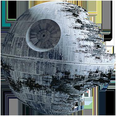 TenStickers. Todesstern Aufkleber. Spektakuläres Wandtattoo für alle überzeugten Fans! Erinnern Sie sich an die Abendteuer von Darth Vader, Han Solo und Luke Skywalker.
