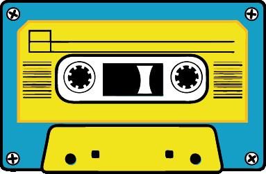 TENSTICKERS. 黄色と青のカセットステッカー. ビンテージの黄色と青のカセットステッカー。あなたの寝室を飾って、あなたが望む外観を得るために、レトロな壁のステッカー!