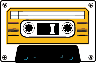 TenStickers. White and Yellow Cassette Sticker. Decorative vintage white and yellow cassette sticker . A wall decal to decorate your walls and bounce back to the 80s.