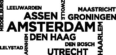 TenStickers. Sticker namen steden Nederland. Decoreer de kamer met deze sticker met de namen hoofdsteden van de Nederlandse provincies. Bent u gek van Nederland of woont/werkt u hier?