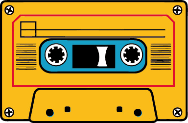 TenStickers. Sticker musique cassette vintage. Stickers décoratif illustrant une cassette jaune qui devrait plaire aux plus nostalgiques !Idée déco pour la chambre à coucher ou le salon.