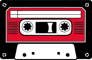 TenStickers. Naklejka kaseta magnetofonowa. Retro naklejka na ścianę lub inną gładką powierzchnię przedstawiająca czarno-czerwono-białą kasetę.