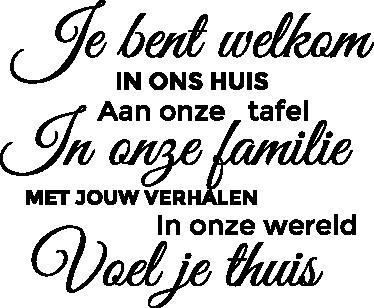 TenStickers. Welkom in ons huis sticker. Muursticker met een leuke Nederlandse tekst dat je in jouw huis komt plakken! Verwelkom jouw gasten met deze leuke tekst!