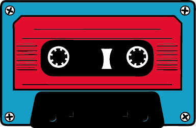 TenStickers. Blue and Red Cassette Sticker. Vintage blue and red cassette sticker. A wall decal to decorate room and make it original!