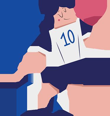TenStickers. Sticker footballeur numéro 10. Sticker pour enfants amusant d'un footballeur portant le numéro 10.