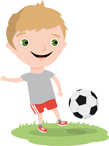 TenStickers. Boy Playing Football Sticker. A children's sticker of a young footballer in action. Perfect for little boys bedrooms.