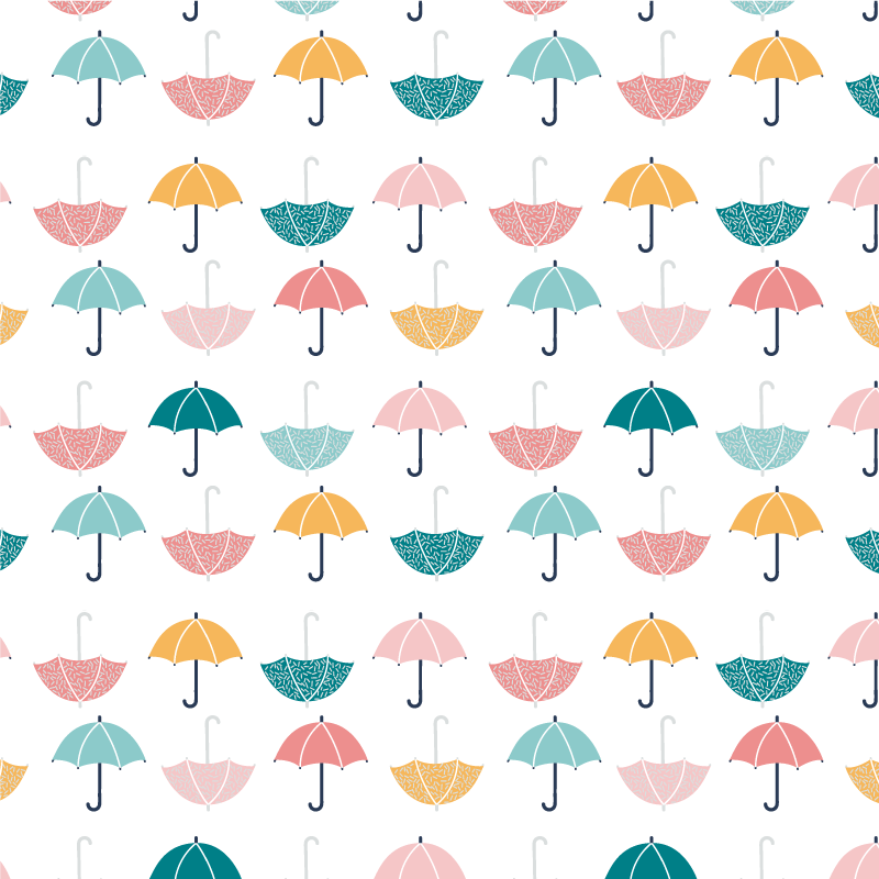 TenStickers. Umbrella Sticker. Decorative sticker illustrating an artistic umbrella. Superb decal to decorate any room at home. Available in 50 colours.