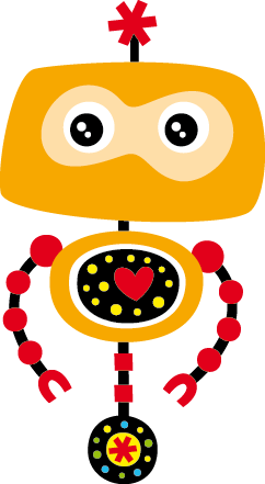 TenStickers. Yellow Robot Kids Sticker. This colourful yellow robot with a beating heart is a design from our collection of robot wall stickers for children. This decal is ideal for decorating a kid's bedroom or play area. If your child loves robots then this will be an amazing present to surprise them and improve the decor of their room.