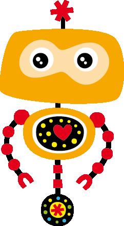 TenStickers. Sticker kinderkamer robot. Muursticker met de afbeelding van een gele robot met een rood hart! Leuke idee voor de decoratie van de slaapkamer of speelhoek van uw kinderen.