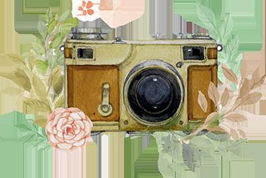 TENSTICKERS. 花のステッカーと古いカメラ. 古いビンテージカメラと花の装飾装飾を組み合わせた美しい壁用ステッカー。