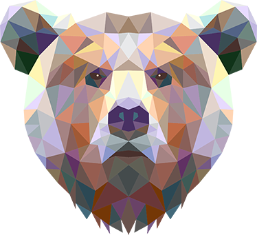 TenStickers. Geometric Bear Sticker. Geometric bear wall sticker showing a modern wild animal design made of polygonal shapes and colours. Decorate the walls of your home with this impressive design of a bear's head. Available in various sizes, choose the size that best suits you.