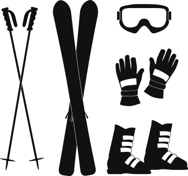 TenStickers. Skiing Accessories Sticker Set. A set of stickers with designs of various skiing accessories, including gloves, boots, goggles and skis.