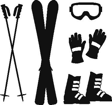 TenStickers. Adesivo decorativo acessórios de ski. Autocolante ski com os principais acessórios para esquiar, sticks, luvas, óculos, tudo o que é necessário para praticar o teu desporto favorito.