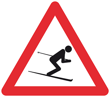 TenVinilo. Sticker decorativo atención esquiador. Pegatina de una señal triangular de peligro con un esquiador que nos advierte que hay un aficionado de este deporte cerca.