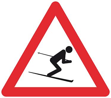 TENSTICKERS. 警告スキーヤーステッカー. 斜面への情熱について世界中に知ってもらいたいなら、このシンプルでありながら象徴的な古典的な危険サインの象徴はあなたにぴったりです!