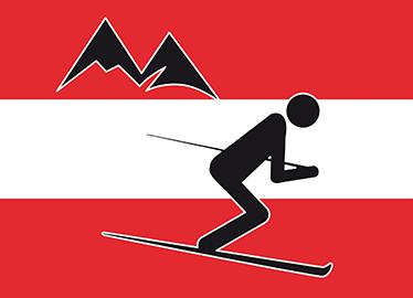 TENSTICKERS. 装飾的なスキーヤーアイコンオーストリア壁の装飾. オーストリアの旗の上にスキーヤーがいるこの素晴らしいスポーツウォールステッカーをチェックしてください。サイズも選べて簡単に貼れます。