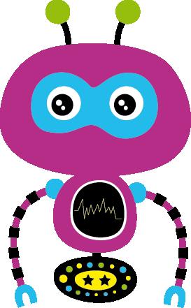 TENSTICKERS. パープルロボットキッズデカール. 子供用のロボットウォールステッカーのコレクションからの紫色のロボットの装飾的なデカール。あなたの子供が愛する創造的なデザイン。