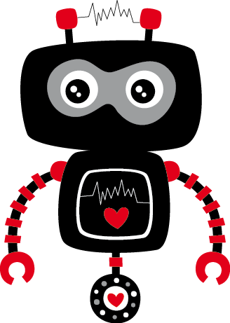 TenStickers. Kids Black and Red Robot Decal. A playful and fun illustration of a black robot ready to wonder around and embark on adventures. A design from our collection of robot wall stickers. A creative decal that is ideal for decorating kids bedrooms and nurseries.