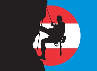 TenStickers. Wandtattoo Kletterer Österreich. Dekoratives Wandtattoo von einem Kletterer mit der Fahne von Österreich im Hintergrund.