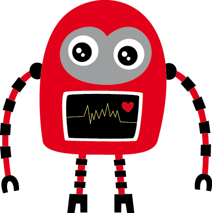 TenStickers. Kids Red and Black Robot Decal. A creative and fun illustration of a robot with a heart. A magnificent design that is part of our collection of robot wall stickers.