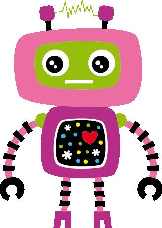 TenStickers. Sticker enfant robot rose. Stickers décoratif illustrant robot rose au petit cœur rouge !Idéal pour apporter de la gaieté aux espaces de jeux des enfants. Idée déco originale pour la chambre d'enfant.