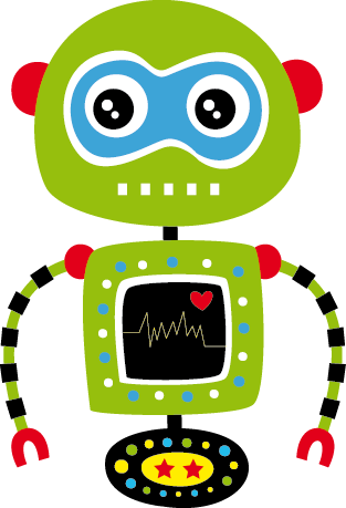 TenStickers. Green Robot Kids Sticker. This magnificent design of a green robot with a beating heart from our collection of robot wall stickers is ideal for children. Are you planning to decorate your child's bedroom? This colourful and friendly decal will make them smile and create a colourful atmosphere for their bedroom decor.
