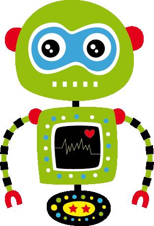 TenStickers. Sticker kinderen groene robot. Een muursticker voor kinderen van een groene robot met een monitor die zijn hartslag weergeeft. Decoreer uw kinderkamer met dit origineel design.