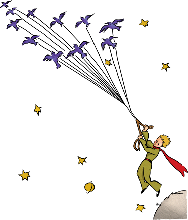 TenStickers. Little Prince Flying Birds Sticker. Mural for children's rooms with a representation of the famous story by Antoine Saint-Exupery.
