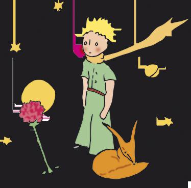 TenVinilo. Vinilo decorativo el principito y rosa. Vinilo decorativo de El Principito acompañado del lobo durmiendo mientras observa florecer la preciosa flor. Una pegatina ideal para las paredes de tu hogar donde podrás personalizar la habitación de tus hijos.