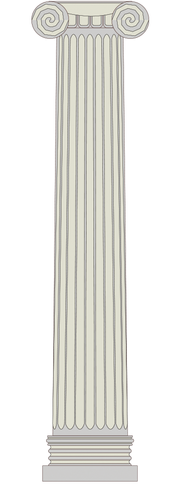TenStickers. Wandtattoo griechische Säule. Dekoratives Wandtattoo von einer alten, griechischen Säule. Verleihen Sie Ihrem Wohnzimmer und weiteren Räumen einen antiken und eleganten Look.