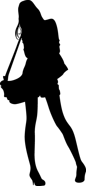 TenStickers. Woman with Handbag Silhouette Sticker. Decorative sticker illustrating an a silhouette of a woman holding a handbag. Superb decal to decorate any room at home.